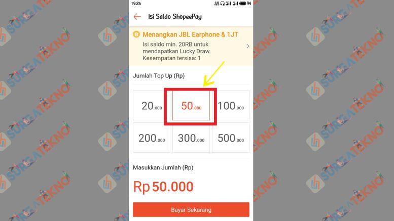 Pilih Nominal Topup Saldo Shopeepay - SurgaTekno
