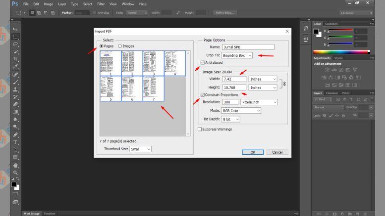Atur Pengaturan - Cara Memperbesar Resolusi PDF dengan Photoshop