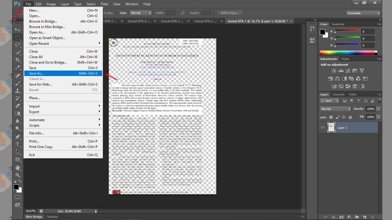 Klik File dan Pilih Save As - Cara Memperbesar Resolusi PDF dengan Photoshop