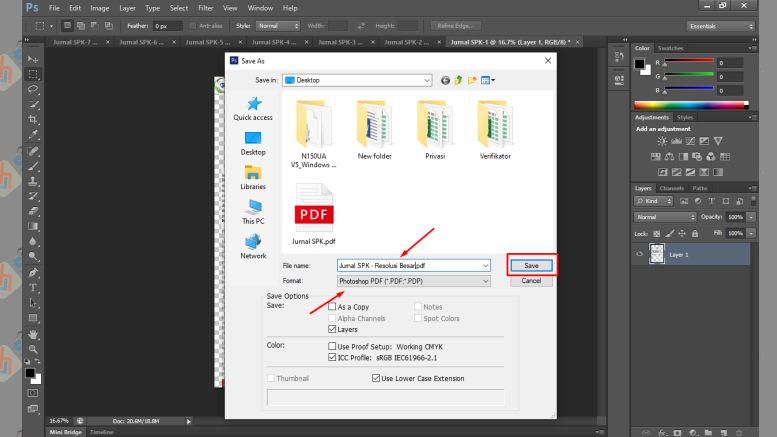Simpan File PDF yang Resolusi Sudah Diperbesar - Cara Memperbesar Resolusi PDF dengan Photoshop
