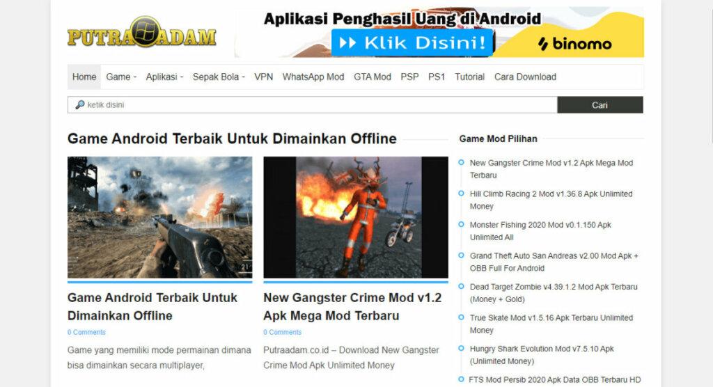 Tampilan Situs Putaadam