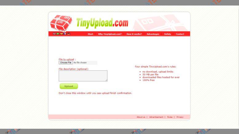 TinyUpload - Situs untuk Upload File Gratis
