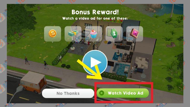 Tonton Iklan untuk Mendapat Hadiah - Tips Bermain The Sims Mobile