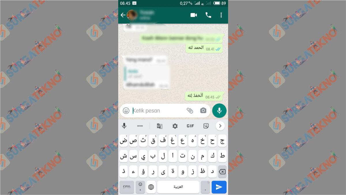 Huruf Arab dengan Harakat berhasil ditulis