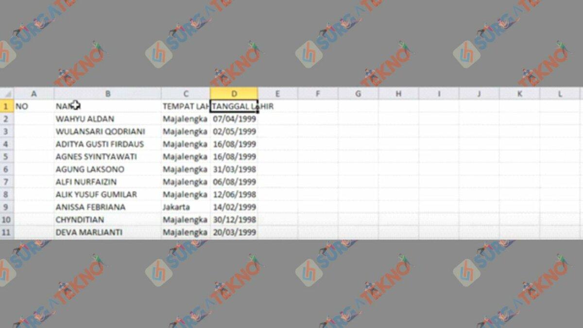 Buat Data Tanggal Lahir Excel