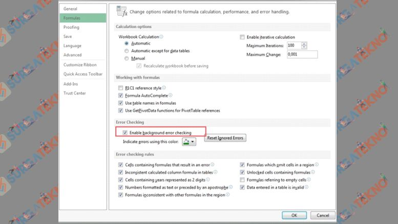 Centang Enable background error checking - Cara Menghilangkan Pesan Ignore Error Pada Excel