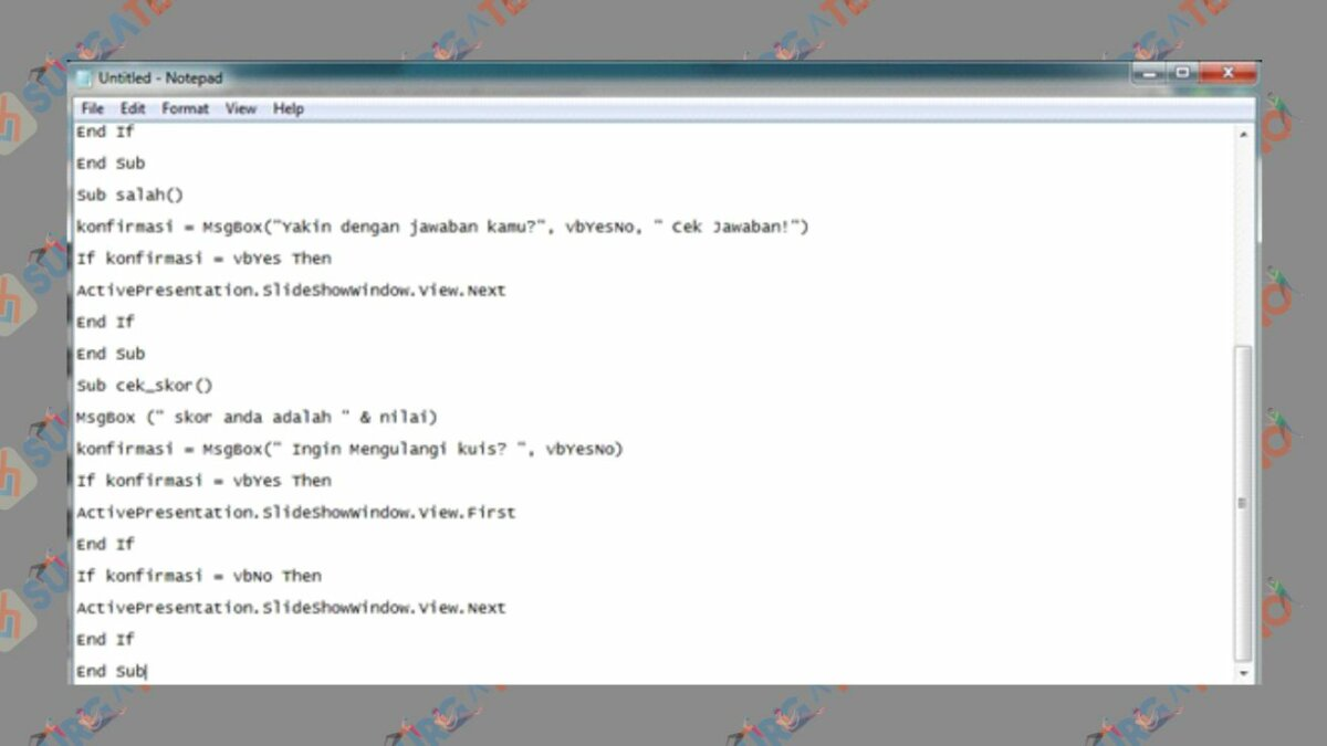 Copy Paste Kode ke Notepad