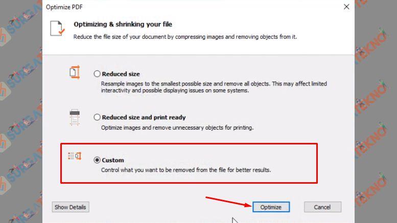 Jika Ingin Mengkustom Pengaturan Optimasi PDF, Pilih Custom