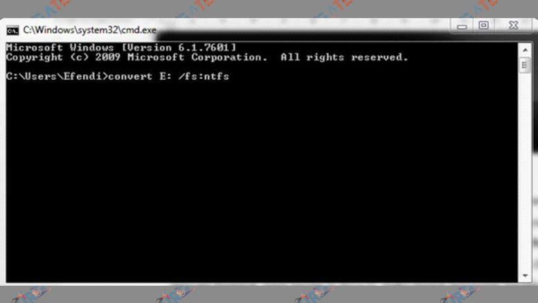 Ketikkan Perintah Convert FAT 32 ke NTFS
