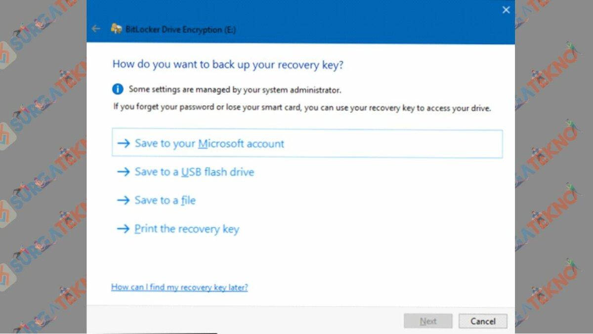 Pilih Recovery Key Mau Ditaruh Mana - Cara Mengaktifkan Bitlocker di Windows 10