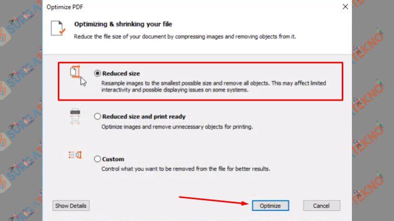Pilih Reduced size dan Klik Optimize
