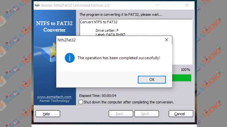 Proses Convert Format Hard Disk Selesai