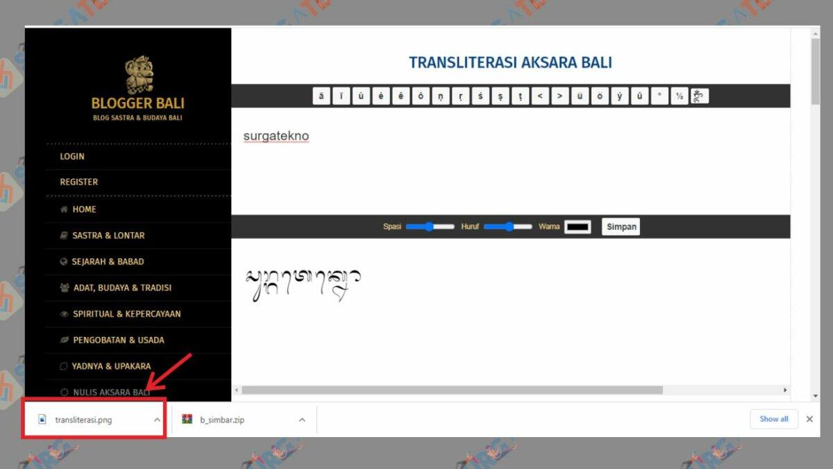 Secara Otomatis Teks Menjadi Aksara Bali dalam Bentuk Gambar