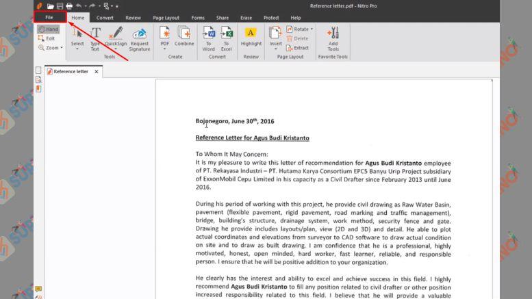 Setelah File PDF Terbuka, Klik File Lagi