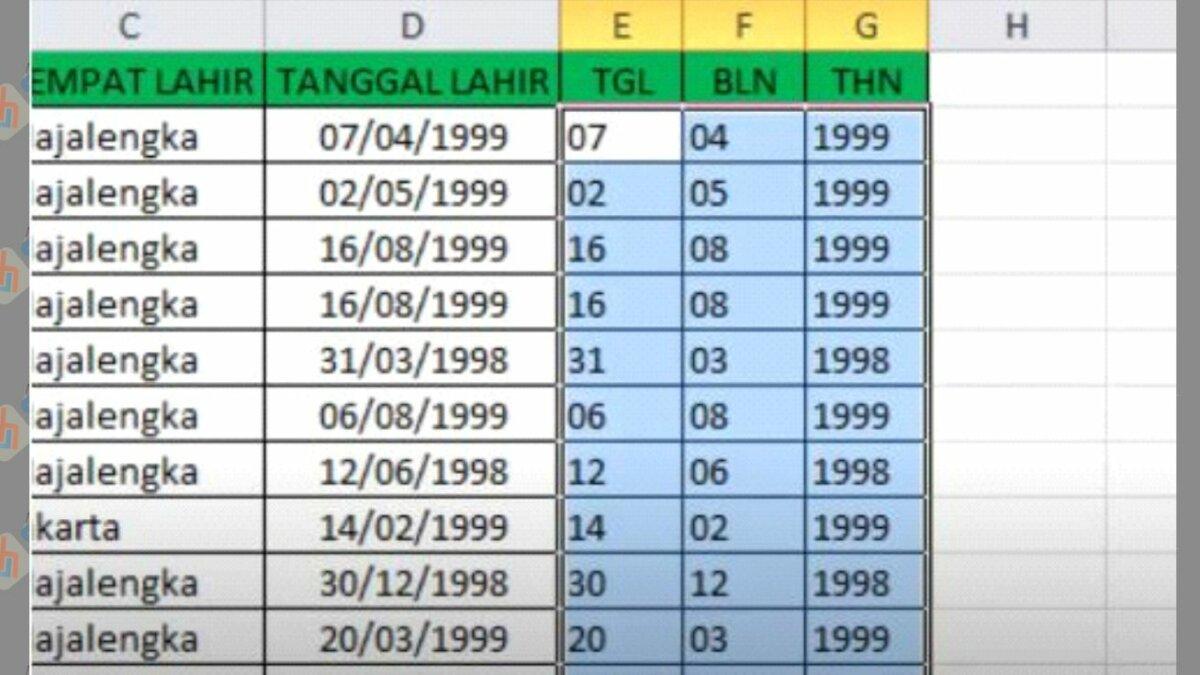 Tanggal, Bulan, Tahun di Excel Selesai Dipisahkan