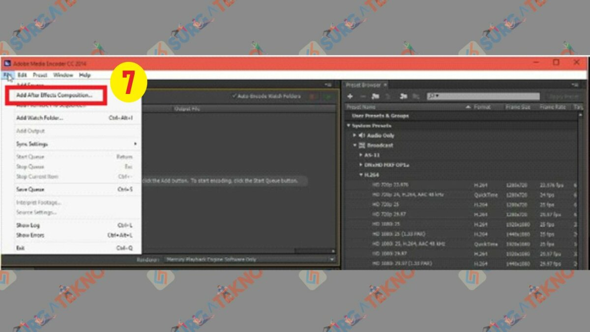 Pilih File lalu Add After Effects Composition - Cara Render After Effect