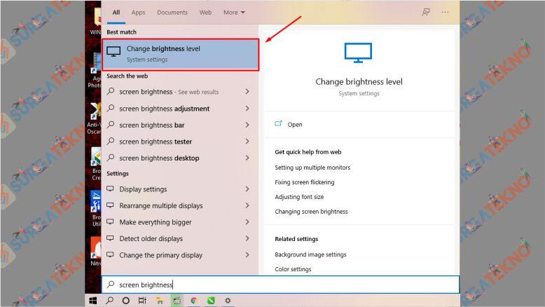 Klik Start dan Ketikkan Screen Brightness - Cara Mencerahkan Layar Laptop