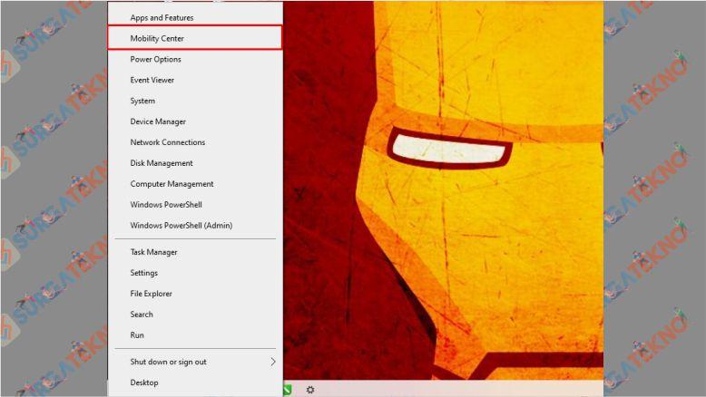 Tekan CTRL + X dan Pilih Windows Mobility Center - Cara Mencerahkan Layar
