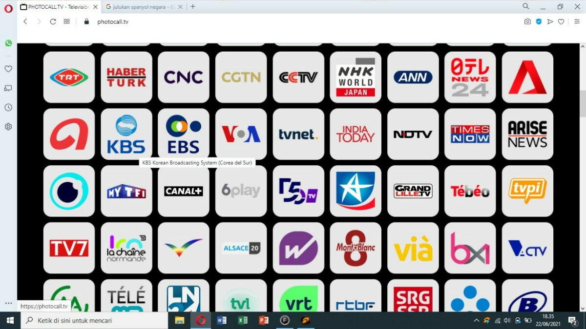 Langkah kedua - cara nonton TV online lewat photocall.tv