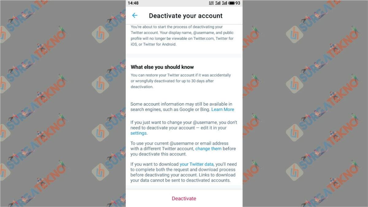 Langkah kelima - cara hapus akun Twitter