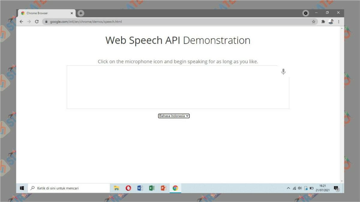 Gambar Langkah kedua - Cara Transkip Suara Menjadi Teks via web speech API Demonstration