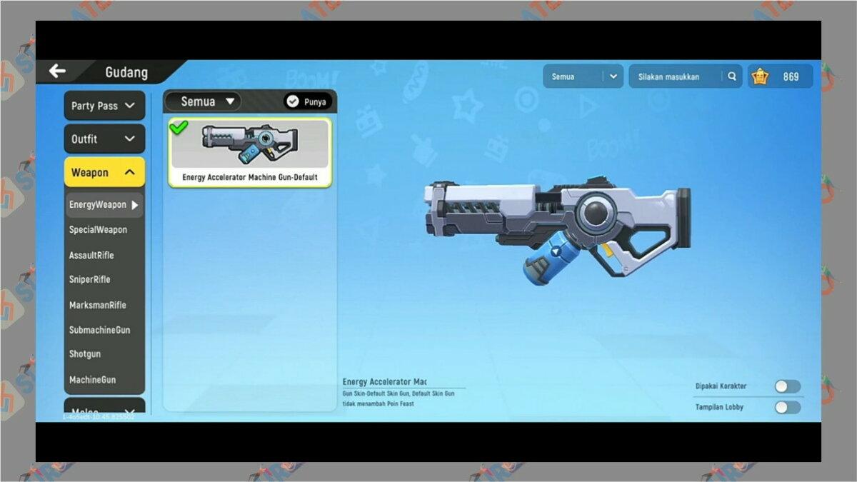 Gambar Langkah dua  - Cara Menampilkan Senjata di Lobby