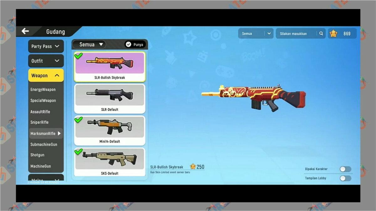 Gambar Langkah tiga  - Cara Menampilkan Senjata di Lobby