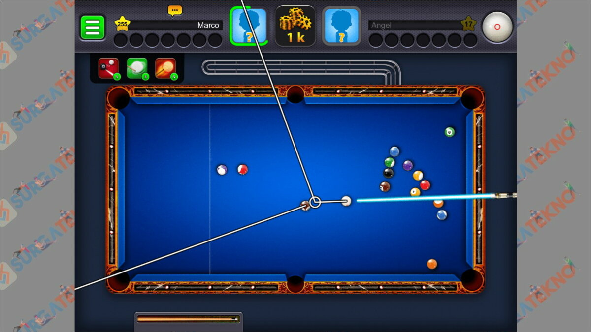 Gambar Langkah terakhir - Cara Cheat 8 Ball Pool Garis Panjang Pantul