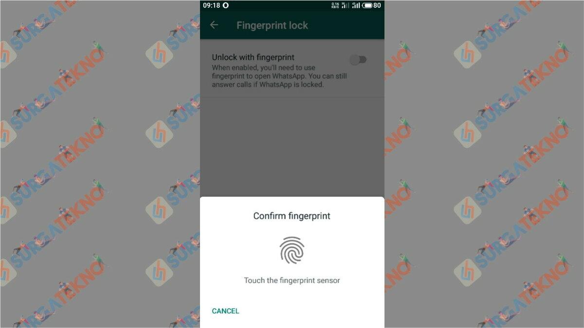 Gambar Langkah ketujuh - cara mengunci WhatsApp dengan Sidik Jari