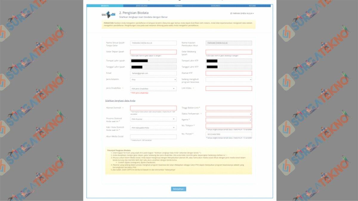 Lakukan Pendaftaran Dengan Memasukkan Biodata - Cara Cetak Kartu Informasi Akun SSCASN 2021