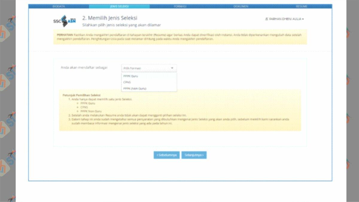 Pilih Jenis Seleksi - Cara Cetak Kartu Informasi Akun SSCASN 2021
