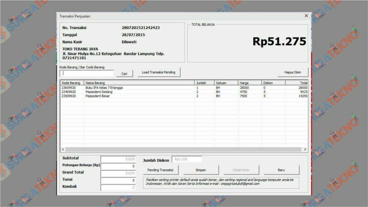 Aplikasi Kasir Penjualan Barang - Aplikasi Kasir Gratis Excel Full