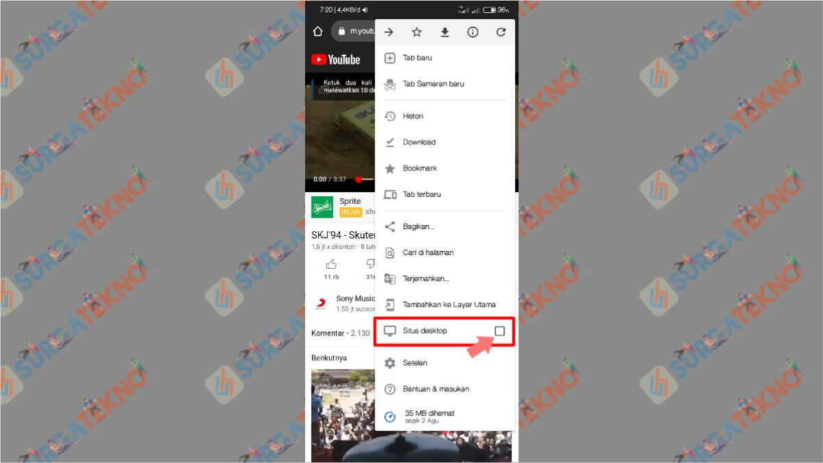 Langkah Kelima - Cara Mendengarkan Musik YouTube di background