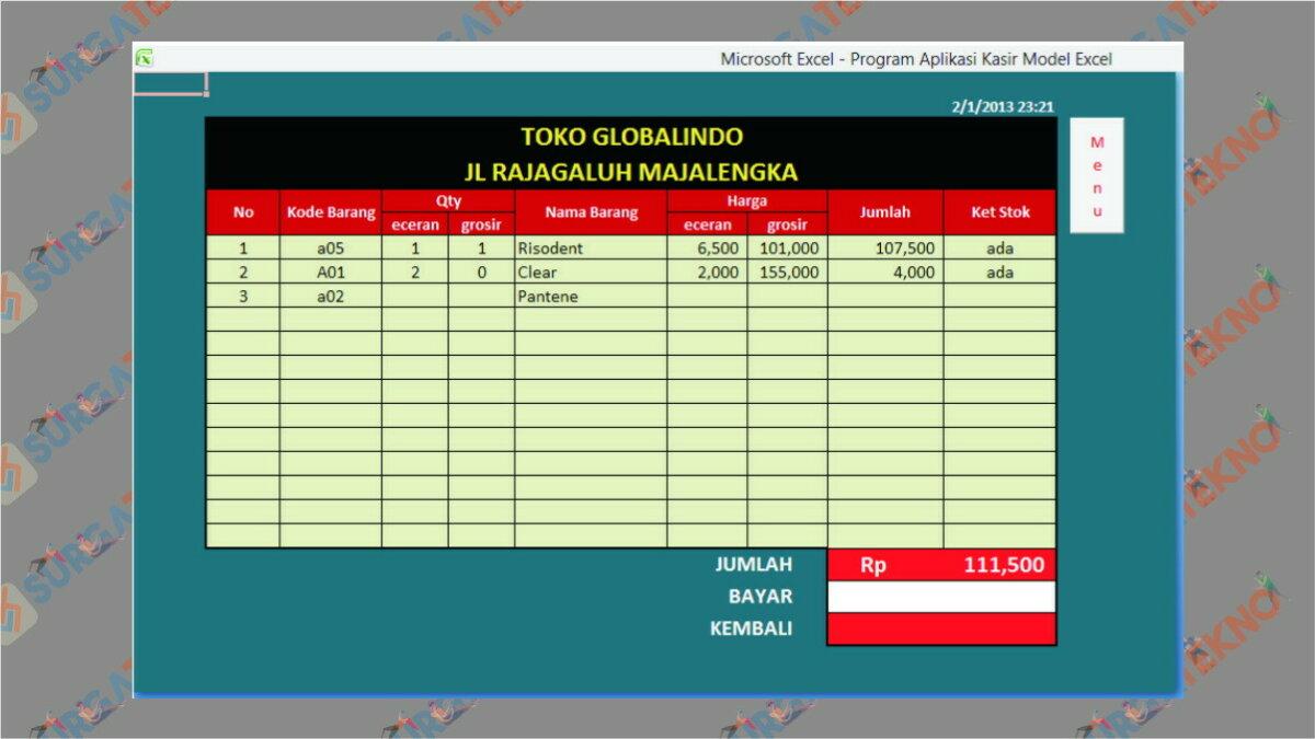 Program Aplikasi Kasir - Aplikasi Kasir Gratis Excel Full