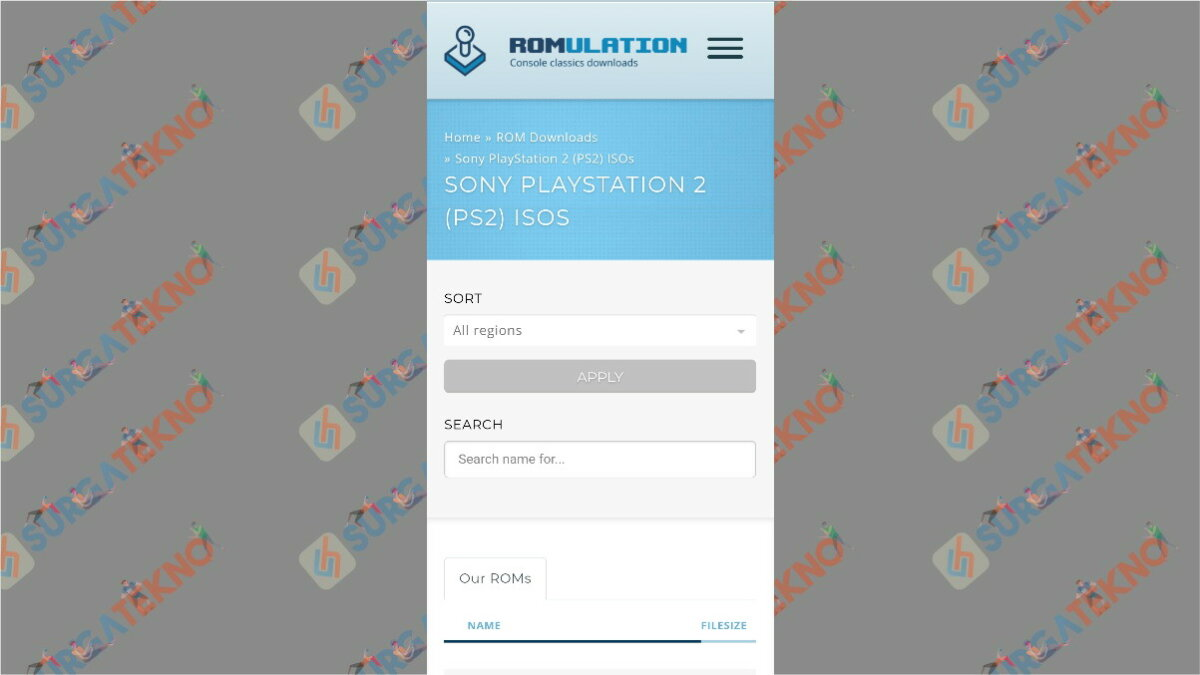 Romulation - situs download game ps2 ISO