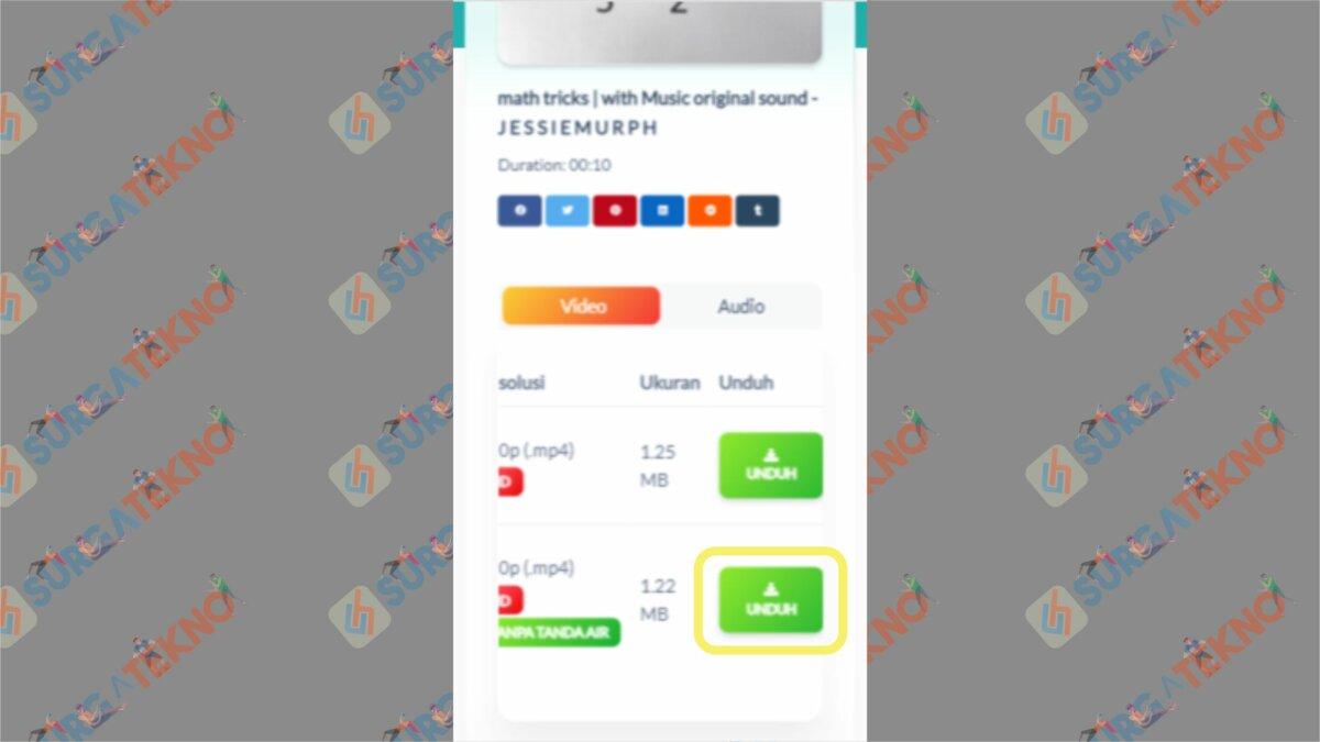 Tekan Unduh pada Opsi Tanpa Tanda Air - Cara Download Video TikTok Tanpa Watermark