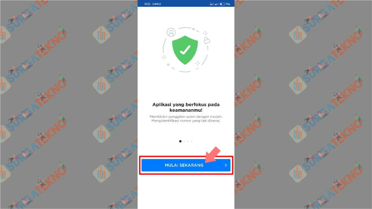Langkah kedua - cara penggunaan aplikasi get contact