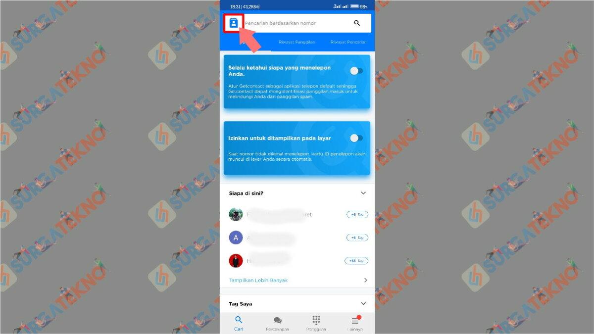 Langkah ketiga - cara penggunaan aplikasi get contact