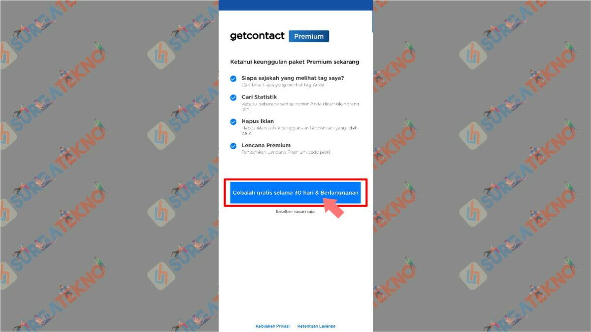 Langkah keempat - Cara Mendapatkan Get Contacts Premium Gratis
