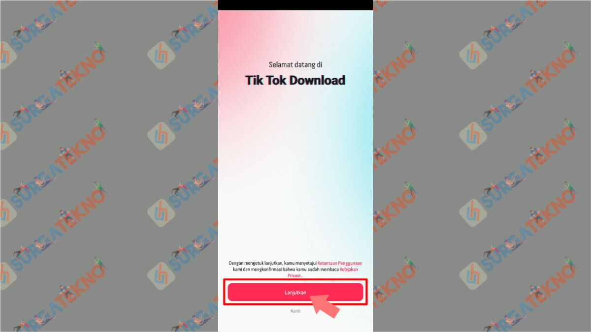 Klik Lanjutkan - Cara Download Video TikTok Tanpa (Bebas) Watermark dengan Aplikasi