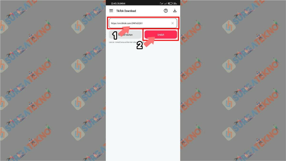 Masukkan Link Video TikTok dan Tekan Unduh - Cara Download Video TikTok Tanpa (Bebas) Watermark dengan Aplikasi